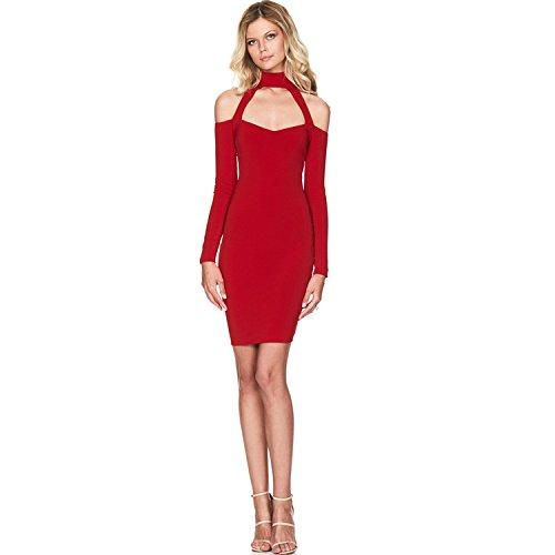Senza spalline del vestito dalla fasciatura delle donne XJoel cocktail Vestito aderente Rosso M