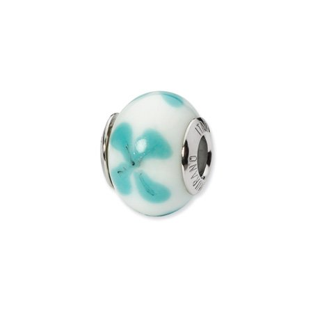 White and Light Blue Flower Murano Glass Charm