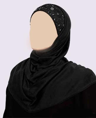 Black 2 Piece Long Al-Amira Hijab with Beadwork Trim