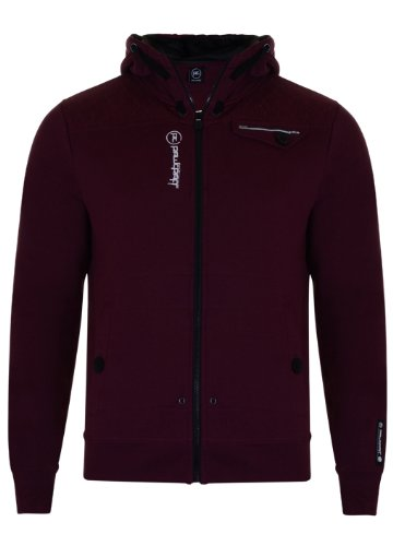 Mens 'Raw Craft' Hooded Sweatshirt With Stitch Detail. Style Name - Aragon (C606612C). In Mahogany Size - XLarge