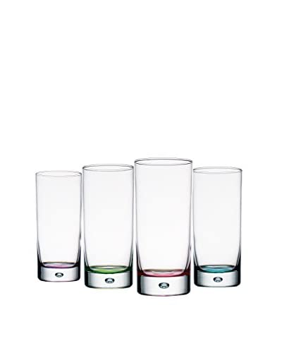 Home Essentials Set of 4 Assorted Color Bubble 16-Oz. Highball Glasses