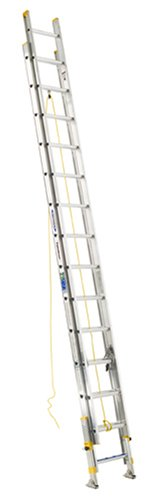 Werner D18282EQ Equalizer 250-Pound Duty Rating Aluminum Extension Ladder with Integrated Leveling System, 28-Foot