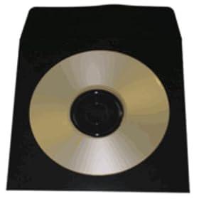 100 Black Paper CD Sleeves with Window & Flap