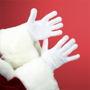 Buy White Knit Stretchable Santa Gloves