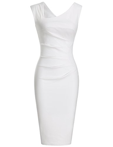MUXXN Women's Retro 1940s Hollow Out Tunic Sheath Pure Bridesmaid Dress(L White) (White Form Fitting Dress compare prices)