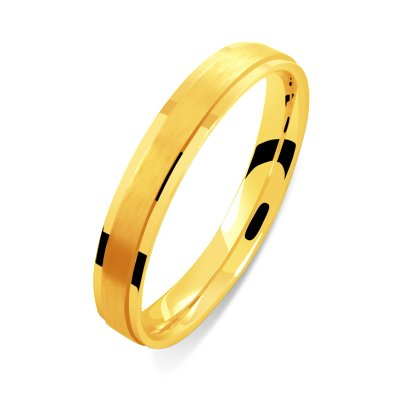 Helios Bijoux Women's 3 mm Men's Wedding Ring, 18 Carat Gold, Yellow - 59 New Certificate of Authenticity-Made in France