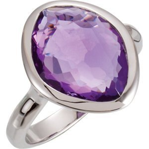 Sterling Silver 15x11x6mm Amethyst Ring Size 6