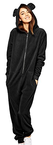 Diffyou Women's Loose Hooded Fleece One Piece Onesie Panda Pajama Black Medium (Black Bear Pajamas compare prices)