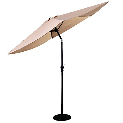 """GOPLUS 10FT Patio Umbrella 6 Ribs Market Steel Tilt W/ Crank Outdoor Garden """"Beige"""""""