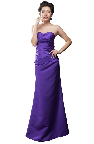 Moonar Satin Strapless Sweetheart A Line Prom Formal Gown Party Bridesmaid Dress