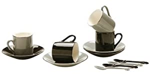 Yedi Houseware Classic Coffee and Tea Black, White and Grey Espresso Cups and Saucers with Spoons, Set of 4 by Yedi Houseware