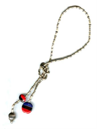 Lariat Necklace - Ethiopian Silver with Kazuri Beads - Red