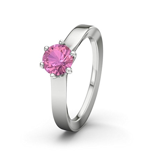 21DIAMONDS Women's Ring Skopje Pink Tourmaline Brilliant Cut Engagement Ring - Silver Engagement Ring
