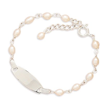 Sterling Silver 5.5 + .5 Inch Extension Cultured Freshwater Pearl Children's ID Bracelet