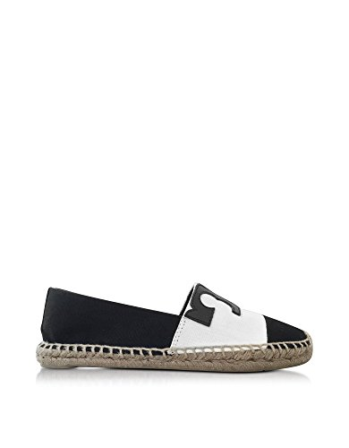 TORY BURCH WOMENS 5115875915009 WHITE/BLACK CANVASR ESPADRILLES