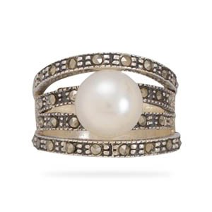 Sterling Silver 4 Marcasite Bands with a Cultured Freshwater Pearl Ring / Size 10