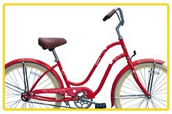 Steel Frame, Micargi Sakura 1-speed (Red/vanilla) Women's 26