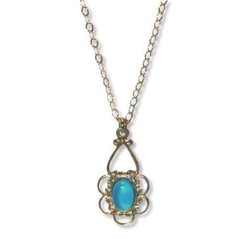 Childrens' Necklace Filigree Blue Agate 14K Yellow Gold Fill Adjustable Length