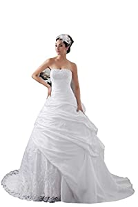 Crystals Ruched Lace Zipper Appliques Sleeveless Pick Ups Wedding Dress(6,Ivory)