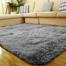 1PCS 80cm x 120cm Living Dining Bedroom Car Flokati Shaggy Ivory Wool Rug Anti-skid Carpet-sliver