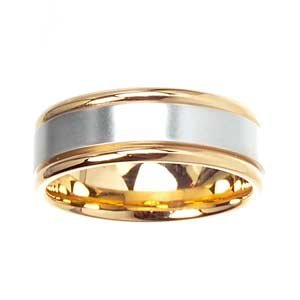 Men's 14k Two Toned Gold Flat Classic Wedding Band (7.00 mm)