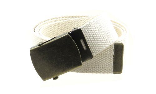 """Canvas Web Belt Military Style with Antique Brass Buckle and Tip 50"""" Long (Cream)"""