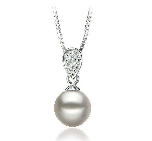 [Daria White 7-8mm AA Quality Japanese Akoya 925 Sterling Silver Cultured Pearl Pendant] (Daria Costume)