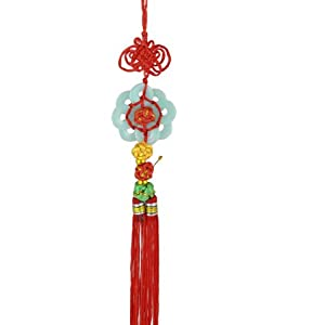 Tassel Faux Jade Dangling Chinese Knot Hanging Decoration Red