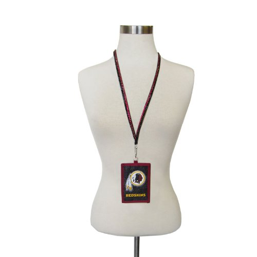 officially-licensed-nfl-beaded-breakaway-lanyard-and-crystal-accented-id-wallet-washington-redskins