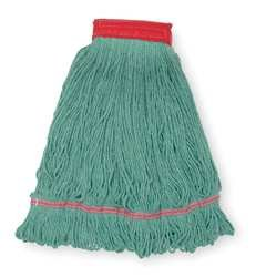 Tough Guy 1TYL9 Wet Mop, Large, Green, Looped End