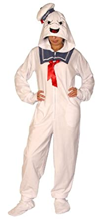 Ghostbusters Stay Puft Marshmallow Man Adult White Hooded Footie One Piece Pajama