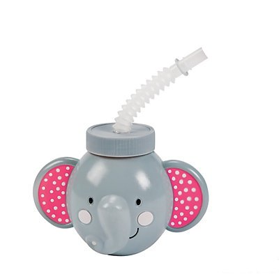 Pink Elephant Molded Cups with Lids & Straws