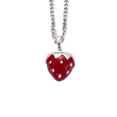 Sterling Silver Red Enamel Strawberry Pendant (Sold alone: chain not included)