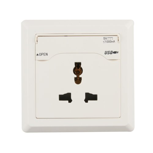 Fotga Usb Build-In Wall Socket Outlet With Two Usb Port Interface (Inludes: 1 X Socket, 2 X Screw, 1 X User Manual) (White)