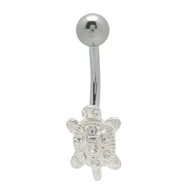 Turtle Belly Ring with Cz Jewels