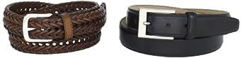 Dockers Men's Leather Wardrobe Belt Set, Black/Brown, Large 38-40