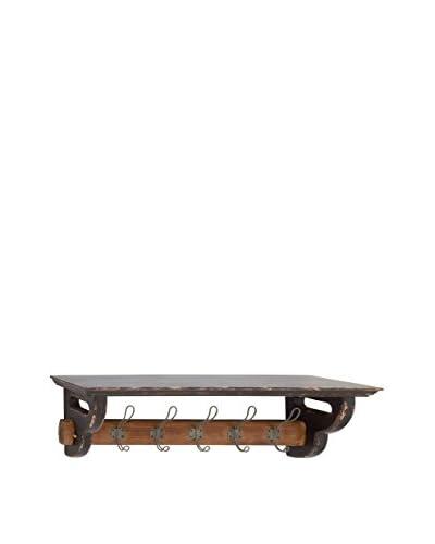 Wood & Metal Wall Shelf Hook, Brown