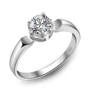 結婚指輪 婚約指輪 シルバーダイヤモンドリング 18Kホワイトゴールド 16号
