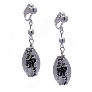 Largo Silver Black Clip On Earrings by CeeJay