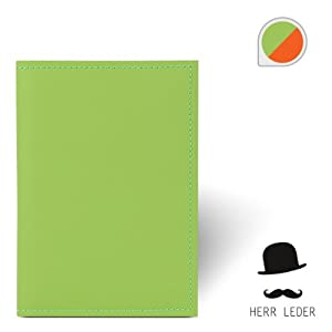 Exklusive Lederhülle grün/orange aus hochwertigem Echtleder mit samtigem Alcantara-Innenfutter für Kindle eReader 4, 15 cm (6 Zoll). Handgearbeitet im Hause Herr Leder.