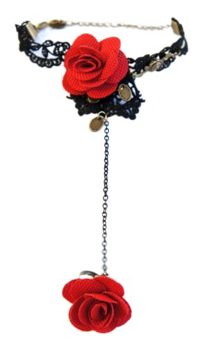 Witch And Rich Red Rose & Bronze Gothic Black Lace Slave Bracelet