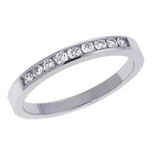 14ct White Channel-Set Round 0.2 Ct Diamond Band Ring - JewelryWeb
