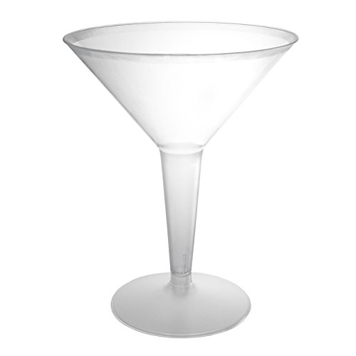 Party Essentials Hard Plastic Two Piece 8-Ounce Martini Glasses, Clear, 10 Count