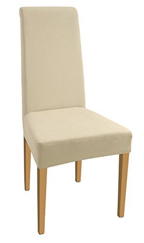 SCHEFFLER-HOME Natalie Coprisedie 2 pezzi, elasticizzato Copertura della sedia, bi-elastico Vestisedia moderno, Decorativo protezione in stretch in tessuto con banda elastica per una misura universale, Coppia spandex Coprisedia, di cotone - Crema-Natura