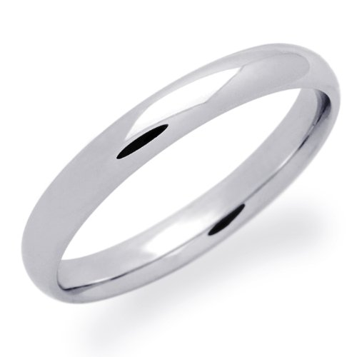 14K Gold Wedding Band Women's 3MM Plain Comfort Fit White Gold Ring For Size 5