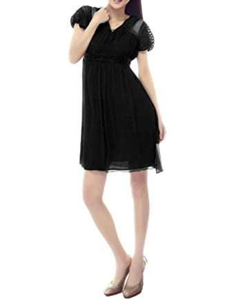 Gamiss Women's V Neck Chiffon Split Jiont High Waist Transparent Sleeve Tunic Dress,Black,Regular Sizing 10