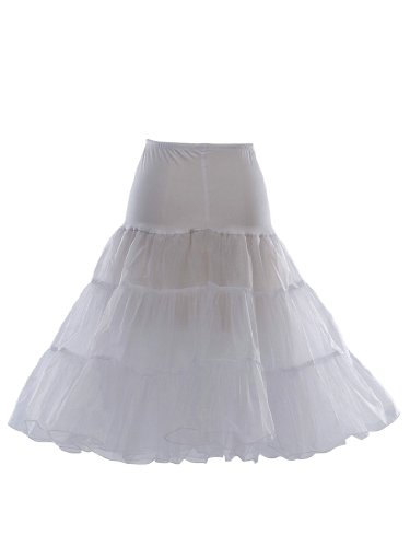 Artwedding 50's Bridal Party Dress Vintage Petticoat, White