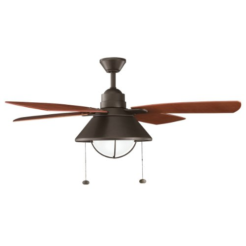 Kichler Lighting 310131OZ Seaside 54IN Indoor/Outdoor Ceiling Fan, Olde Bronze Finish with Walnut ABS Blades and Integrated Light Kit