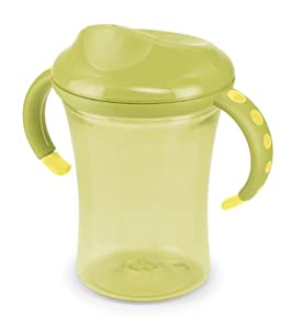 NUK 10255219 Easy Learning 1-2-3 System Cup 2 - Taza con asas (275 ml, boquilla antiderrame, sin bisfenol A), color verde - BebeHogar.com