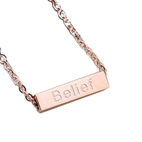 PlusMinus Women's 316L Stainless Steel Wishing Column Pendant Wisdom Luck Belief Courage Gift Anklets Rose Gold